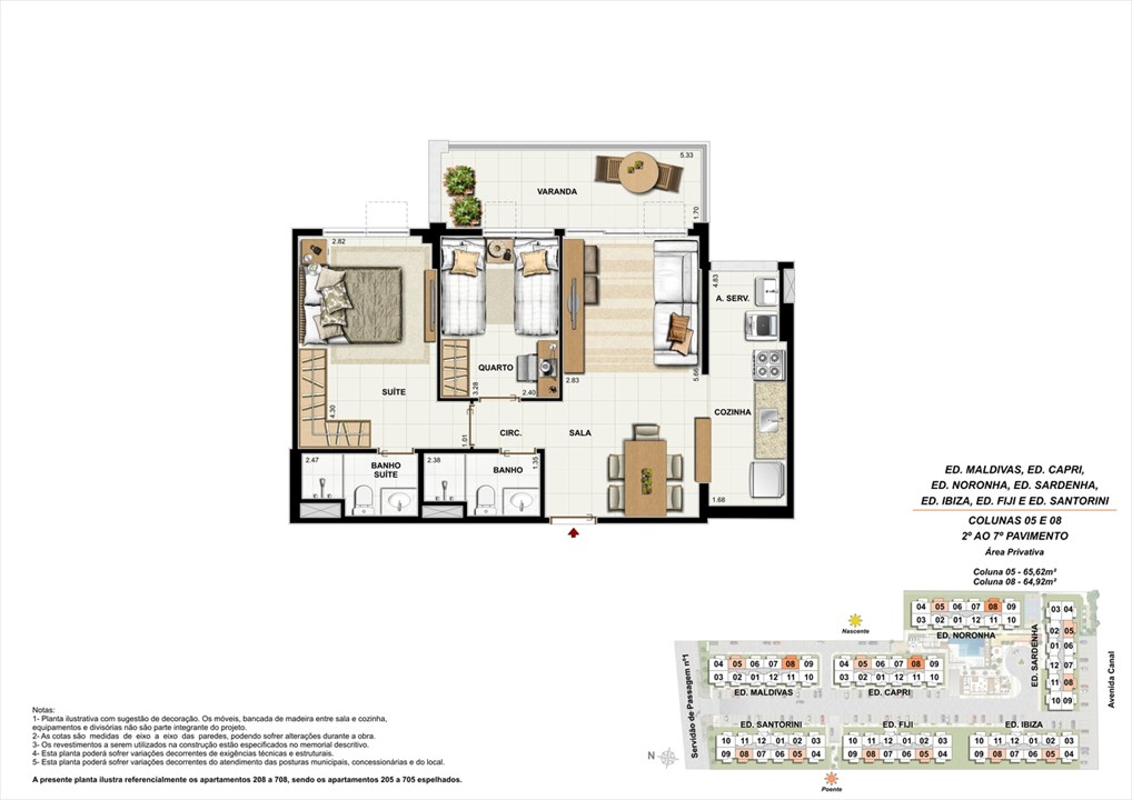 Colunas 05 e 08 - 02º ao 07º andar | Ocean Pontal Residence – Apartamentono  Recreio dos Bandeirantes - Rio de Janeiro - Rio de Janeiro