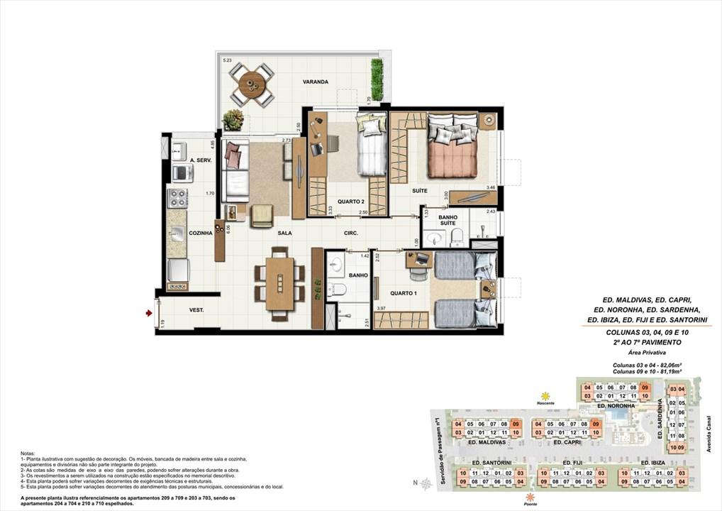 Colunas 03, 04, 09 e 10 - 02º ao 07º andar | Ocean Pontal Residence – Apartamentono  Recreio dos Bandeirantes - Rio de Janeiro - Rio de Janeiro