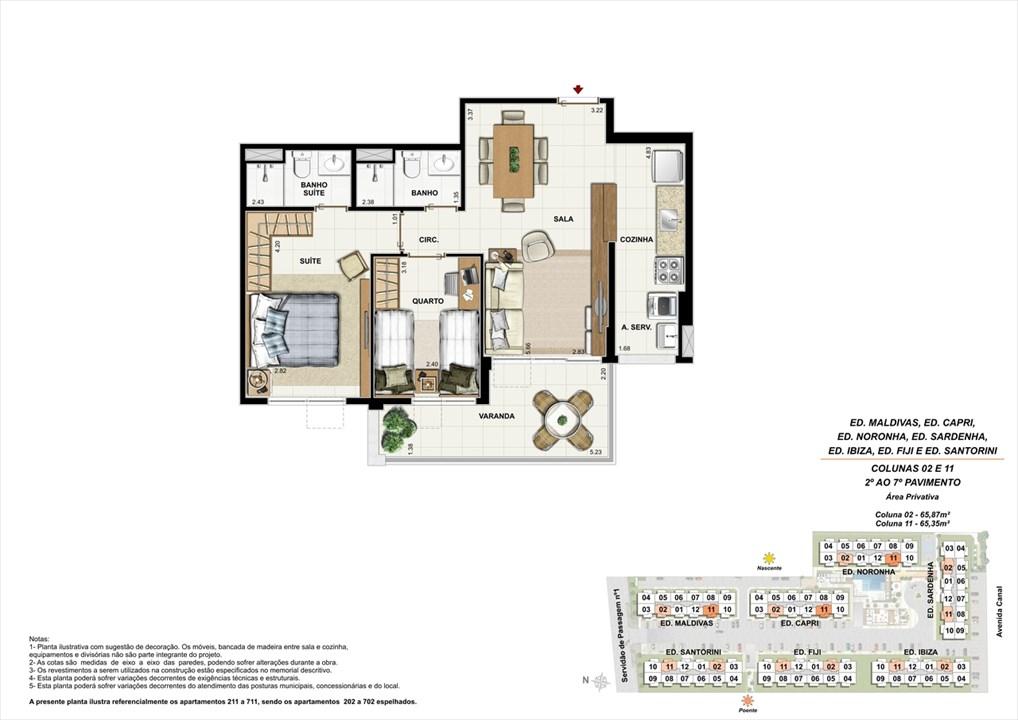 Colunas 02 e 11 - 02º ao 07º andar | Ocean Pontal Residence – Apartamentono  Recreio dos Bandeirantes - Rio de Janeiro - Rio de Janeiro