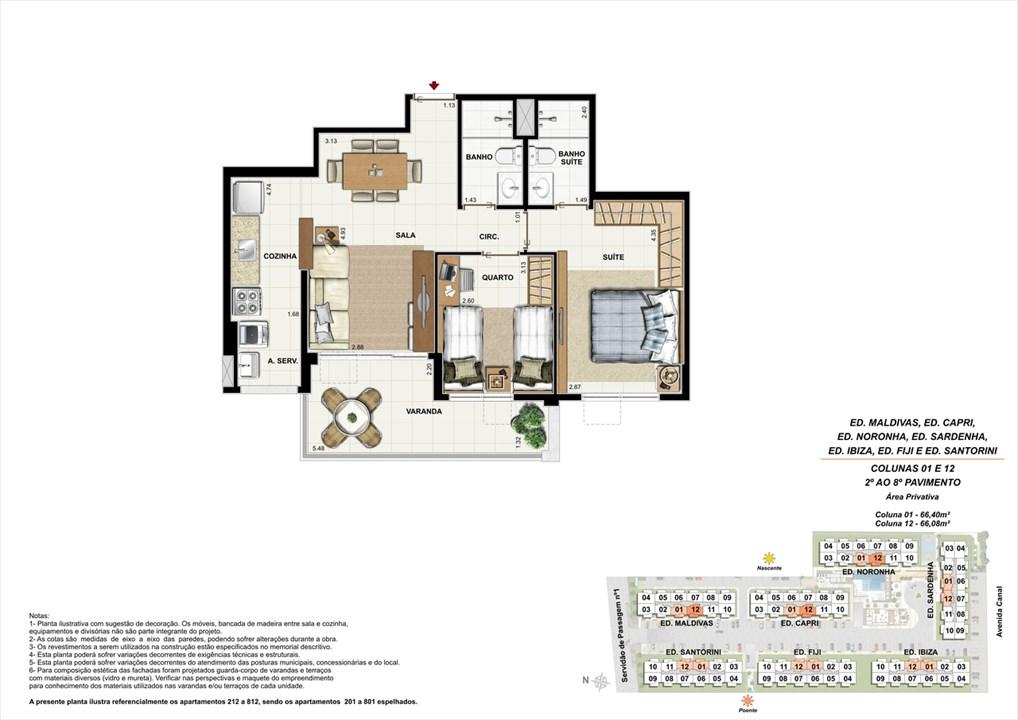 Colunas 01 e 12 - 02º ao 08º andar | Ocean Pontal Residence – Apartamentono  Recreio dos Bandeirantes - Rio de Janeiro - Rio de Janeiro