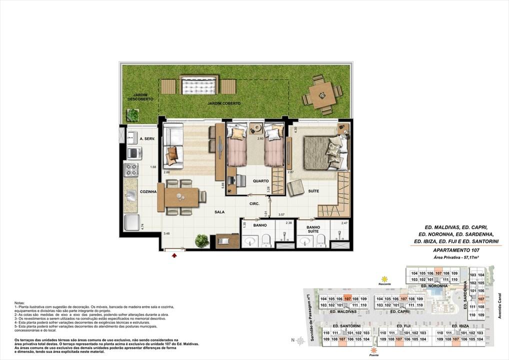 Apartamento 107 | Ocean Pontal Residence – Apartamentono  Recreio dos Bandeirantes - Rio de Janeiro - Rio de Janeiro