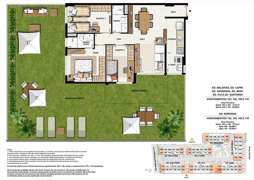 Apartamentos 103, 104, 109 e 110 | Ocean Pontal Residence – Apartamentono  Recreio dos Bandeirantes - Rio de Janeiro - Rio de Janeiro