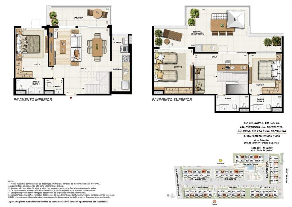 Apartamentos 805 e 808 | Ocean Pontal Residence – Apartamentono  Recreio dos Bandeirantes - Rio de Janeiro - Rio de Janeiro
