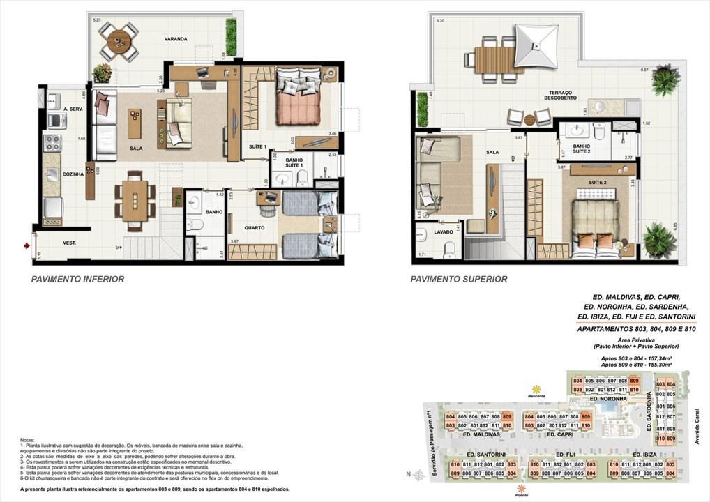 Apartamentos 803, 804, 809 e 810 | Ocean Pontal Residence – Apartamentono  Recreio dos Bandeirantes - Rio de Janeiro - Rio de Janeiro