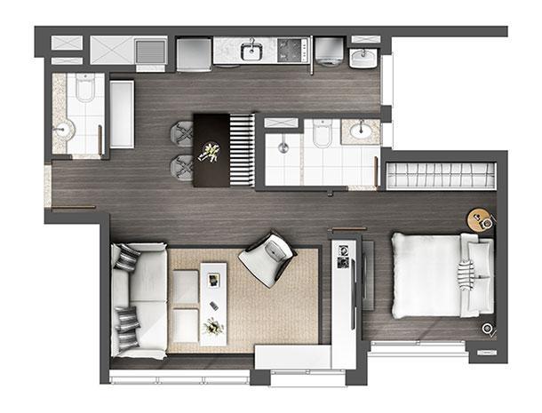 Apartamento 1D 60m² Living estendido | Axis - Home – Apartamento no  Petrópolis - Porto Alegre - Rio Grande do Sul