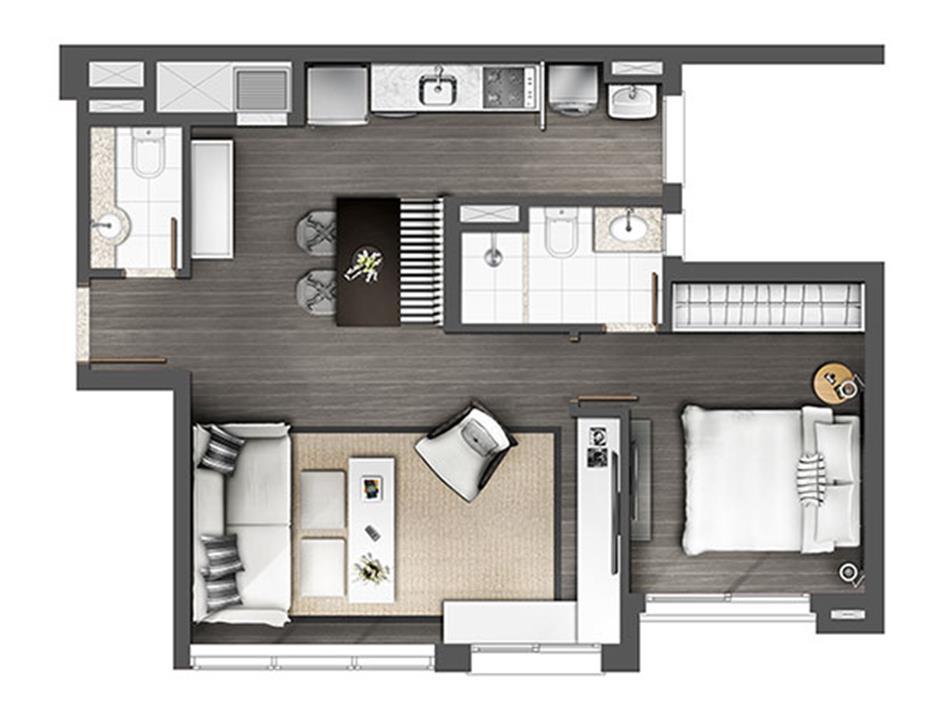 Apartamento 1D 60m² Living estendido | Axis - Home – Apartamentono  Petrópolis - Porto Alegre - Rio Grande do Sul