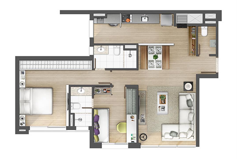 Apartamento 2 suítes 80m² | Axis - Home – Apartamentono  Petrópolis - Porto Alegre - Rio Grande do Sul