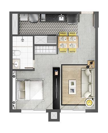 Estudio 45m² | Axis - Home – Apartamento no  Petrópolis - Porto Alegre - Rio Grande do Sul