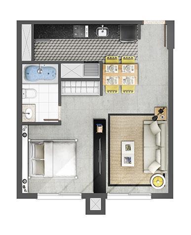 Estudio 45m² Opção com Banheira | Axis - Home – Apartamento no  Petrópolis - Porto Alegre - Rio Grande do Sul