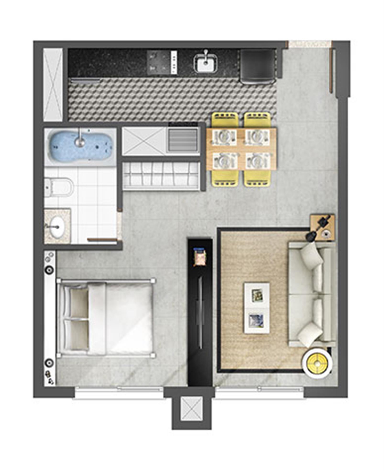 Estudio 45m² Opção com Banheira | Axis - Home – Apartamentono  Petrópolis - Porto Alegre - Rio Grande do Sul