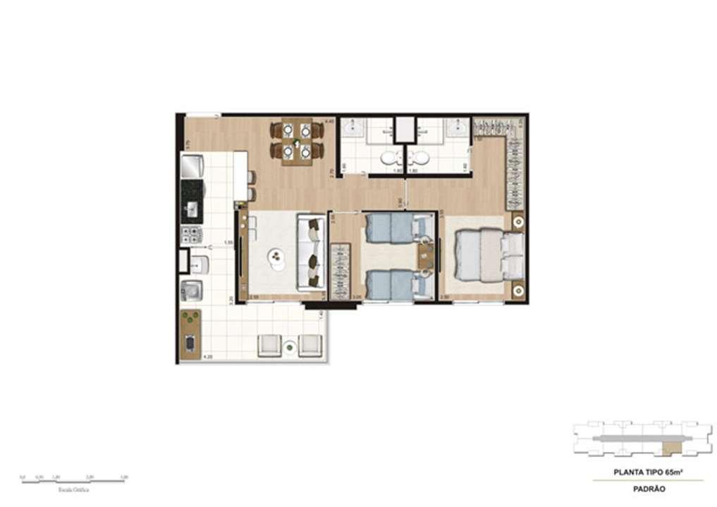 Planta tipo do apartamento de 65 m² - 2 dorms (1 suíte) | Misti Morumbi – Apartamentono  Morumbi - São Paulo - São Paulo