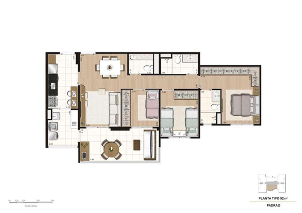 Planta tipo do apartamento de 92 m² - 3 dorms (1 suíte) | Misti Morumbi – Apartamentono  Morumbi - São Paulo - São Paulo