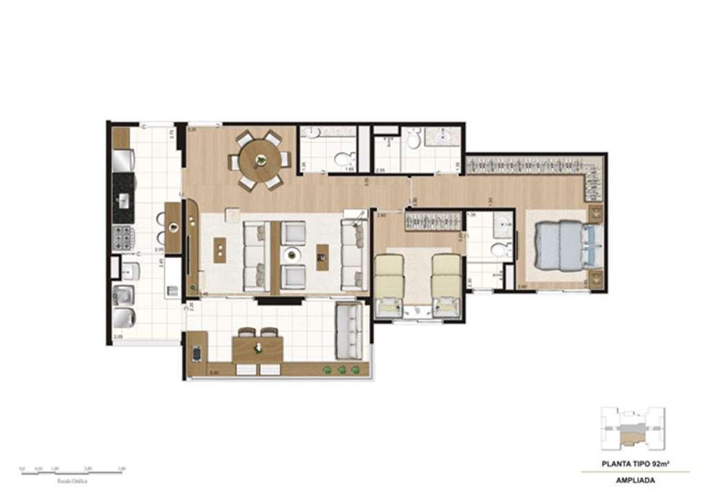 Planta opção Living Ampliado do apartamento de 92 m² - 2 suítes | Misti Morumbi – Apartamentono  Morumbi - São Paulo - São Paulo