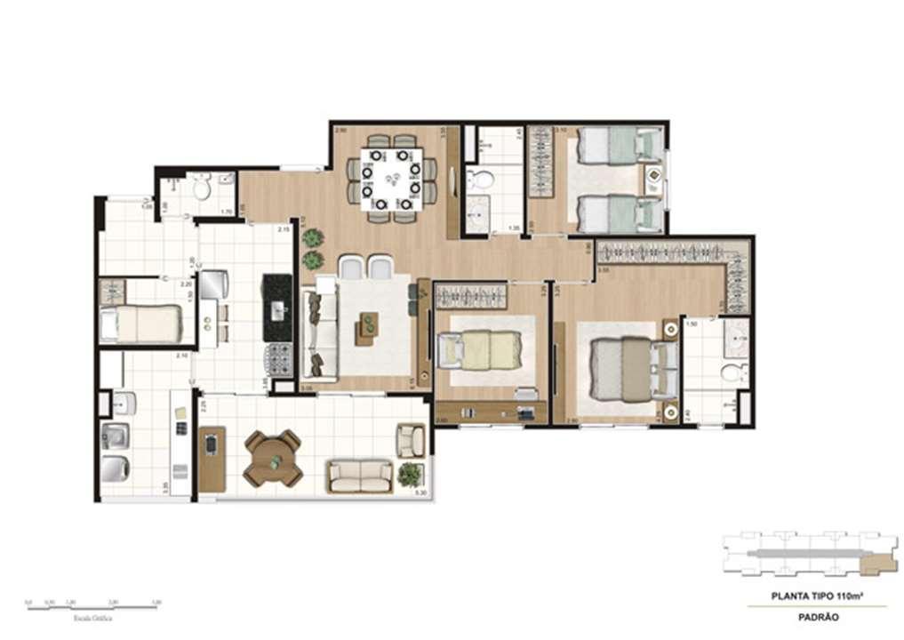 Planta tipo do apartamento de 110 m² - 3 dorms (1 suíte) | Misti Morumbi – Apartamentono  Morumbi - São Paulo - São Paulo