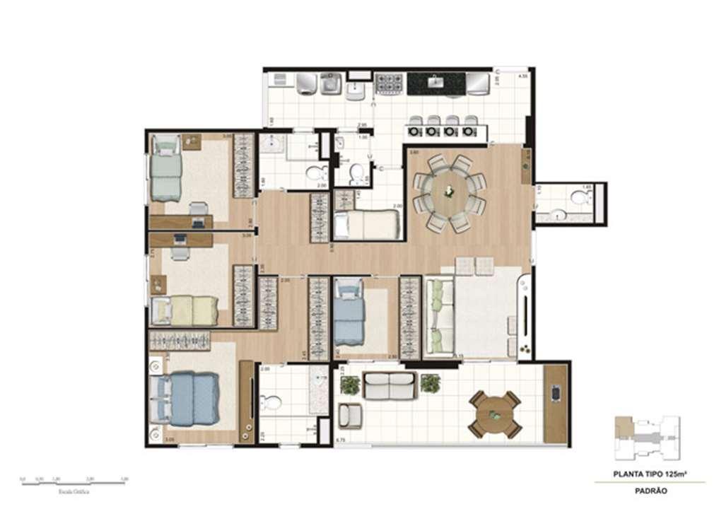 Planta tipo do apartamento de 125 m² - 4 dorms (1 suíte) | Misti Morumbi – Apartamentono  Morumbi - São Paulo - São Paulo