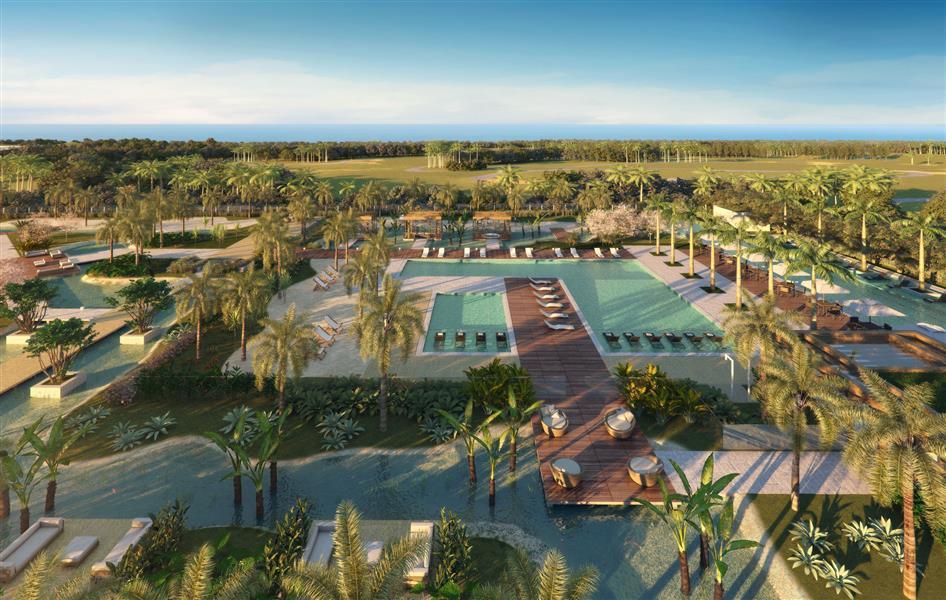 Fotomontagem Aérea das Piscinas com Vista para o Futuro Campo de Golfe Olímpico