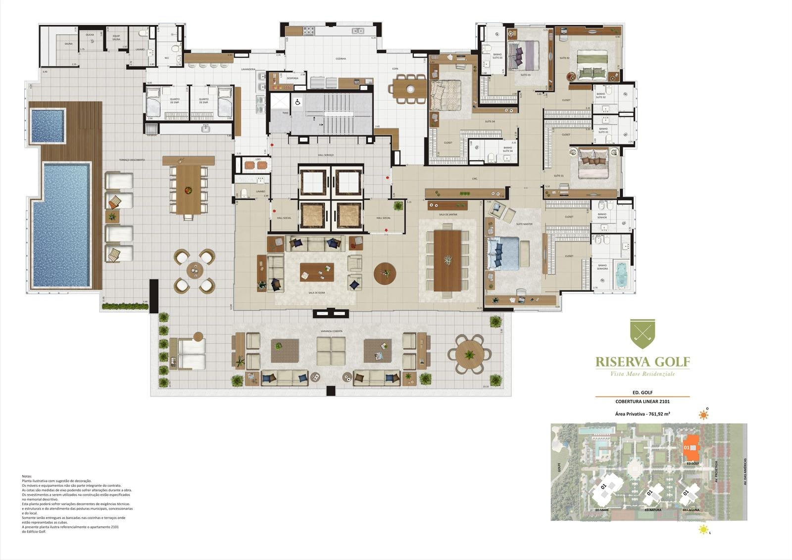 Edifício Golf - Coluna 1 Cobertura linear de 761,92 m² com 5 suítes | Riserva Golf Vista Mare Residenziale – Apartamento na  Barra da Tijuca - Rio de Janeiro - Rio de Janeiro