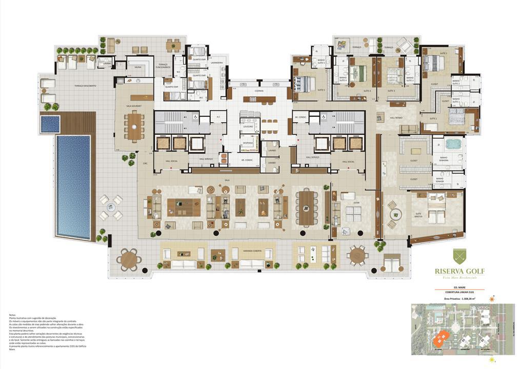 Edifício Mare - Coluna 1 Cobertura linear de 1.308,28 m² com 6 suítes | Riserva Golf Vista Mare Residenziale – Apartamentona  Barra da Tijuca - Rio de Janeiro - Rio de Janeiro