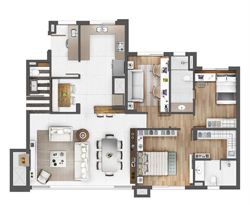 Apto 126m² - opção gabinete | Porto Alegre Incomparável – Apartamentono  Petrópolis - Porto Alegre - Rio Grande do Sul