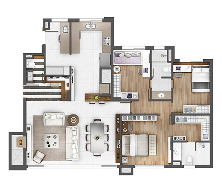 Apto 126m²   opção decorado | Porto Alegre Incomparável – Apartamentono  Petrópolis - Porto Alegre - Rio Grande do Sul