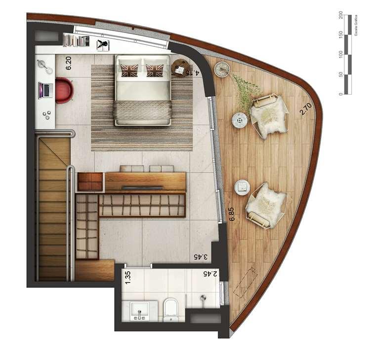 Apartamento tipo 1 - Duplex superior P2 | Cyrela by Pininfarina – Apartamentona  Região da Faria Lima - São Paulo - São Paulo