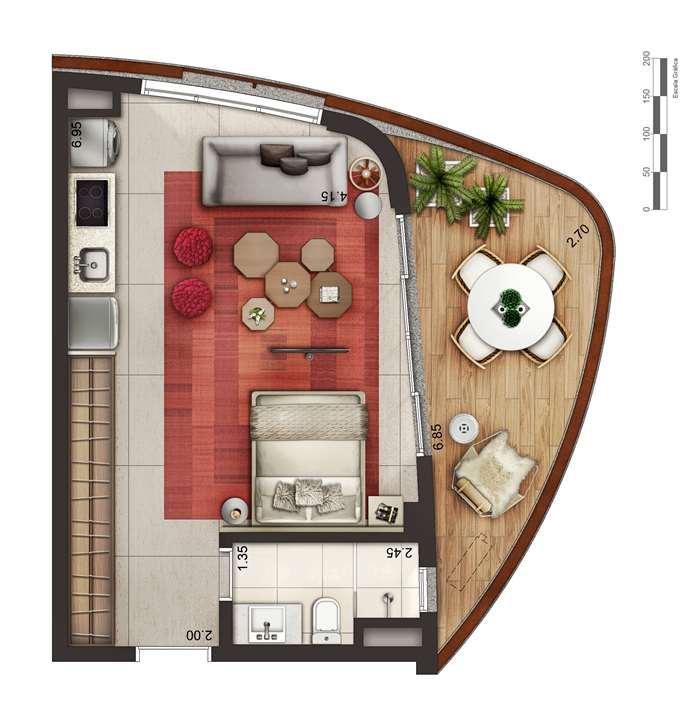 Apartamento tipo 1 - layout A P4 | Cyrela by Pininfarina – Apartamentona  Região da Faria Lima - São Paulo - São Paulo