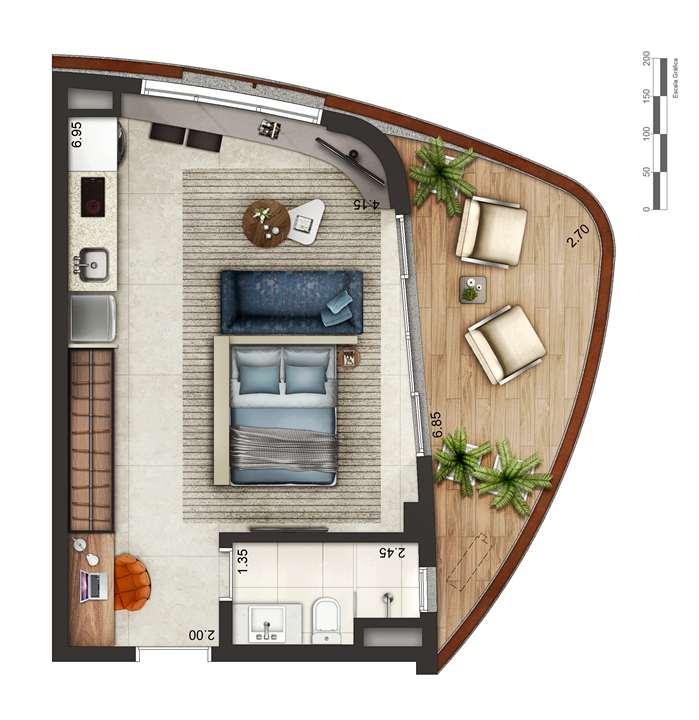 Apartamento tipo 1 - layout B P4 | Cyrela by Pininfarina – Apartamentona  Região da Faria Lima - São Paulo - São Paulo