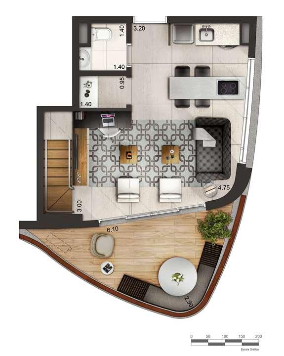 Apartamento tipo 2 - Duplex inferior P2 | Cyrela by Pininfarina – Apartamentona  Região da Faria Lima - São Paulo - São Paulo