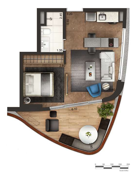 Apartamento tipo 2 - layout A P3 | Cyrela by Pininfarina – Apartamentona  Região da Faria Lima - São Paulo - São Paulo