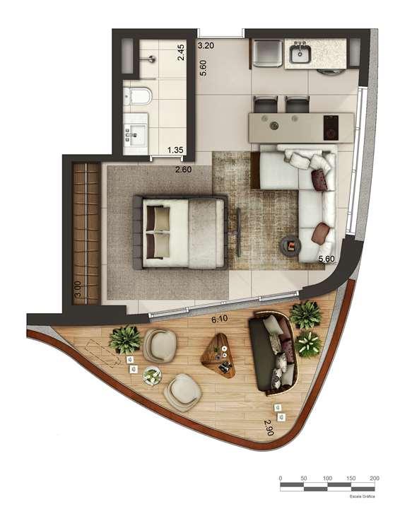 Apartamento tipo 2 - layout B P4 | Cyrela by Pininfarina – Apartamentona  Região da Faria Lima - São Paulo - São Paulo