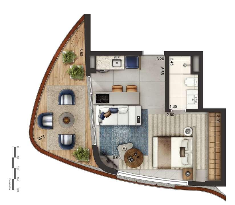 Apartamento tipo 3 - layout A P3 | Cyrela by Pininfarina – Apartamentona  Região da Faria Lima - São Paulo - São Paulo