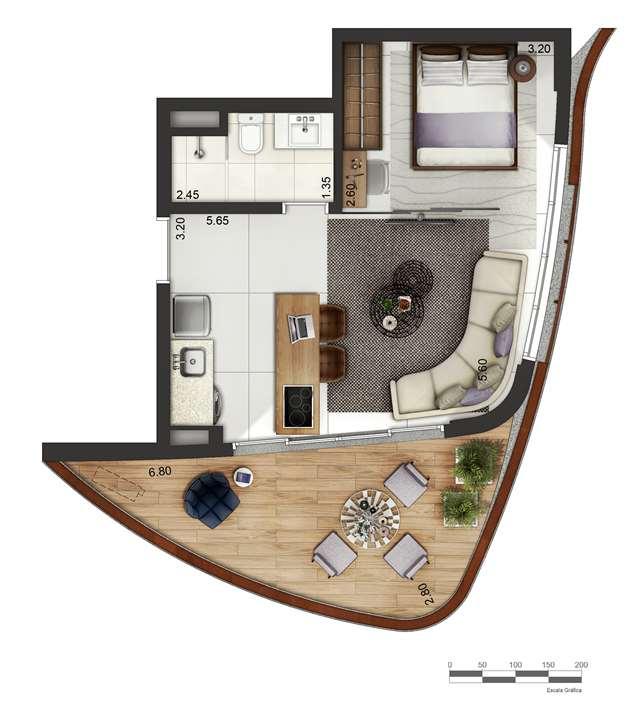 Apartamento tipo 3 - layout B P4 | Cyrela by Pininfarina – Apartamentona  Região da Faria Lima - São Paulo - São Paulo