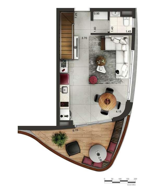 Apartamento tipo 4 - Duplex inferior P2 | Cyrela by Pininfarina – Apartamentona  Região da Faria Lima - São Paulo - São Paulo