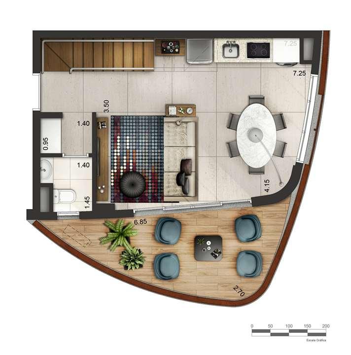 Apartamento tipo 1 - Duplex inferior P3 | Cyrela by Pininfarina – Apartamentona  Região da Faria Lima - São Paulo - São Paulo