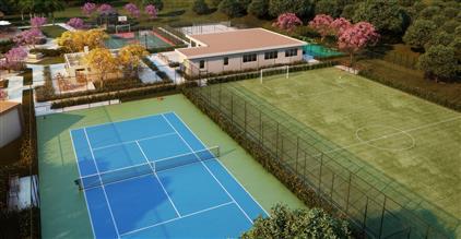 Ilustração Artística da Vista Aérea do Sports Complex do Verdant Club