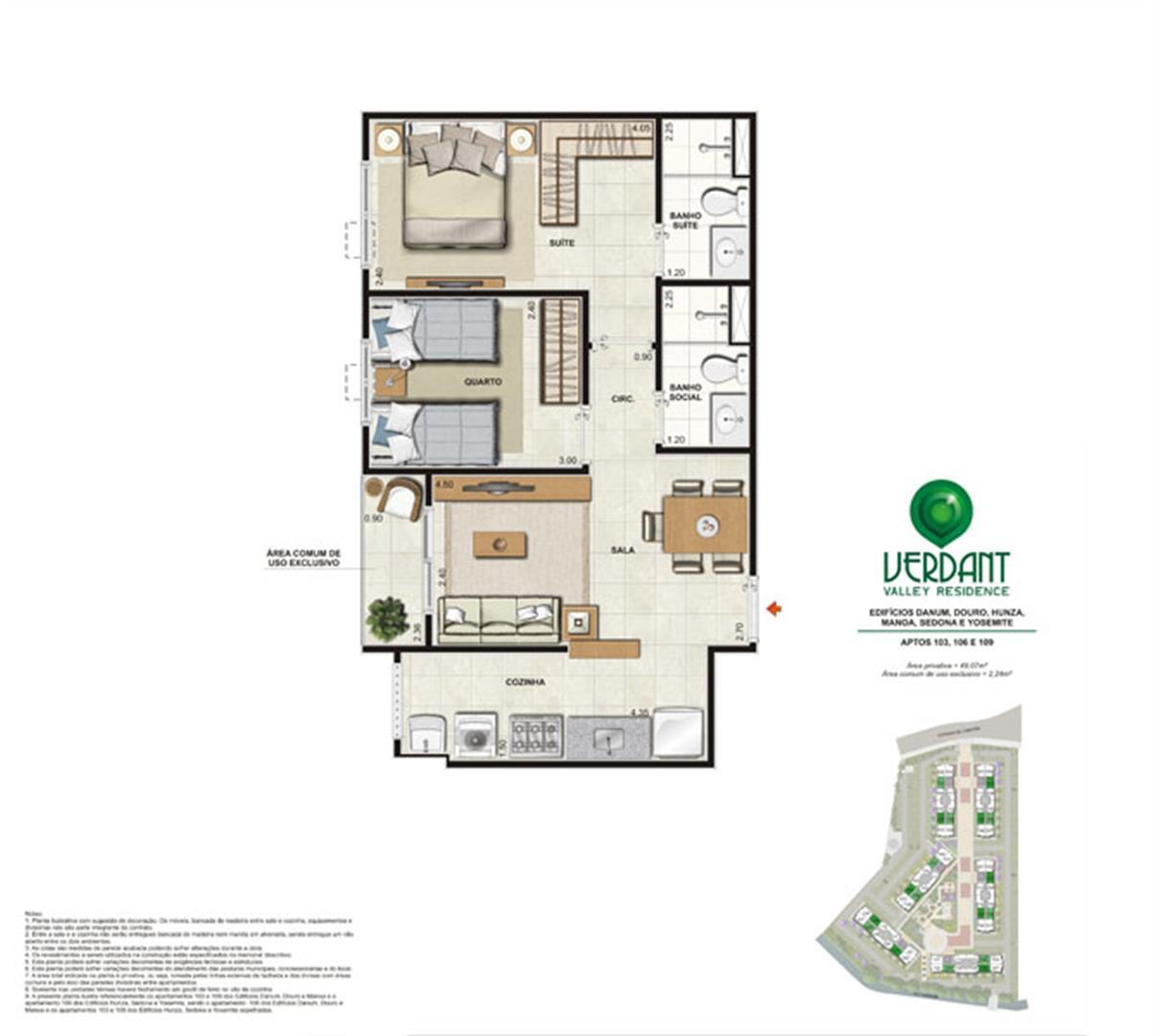 2 Quartos com suíte - 51,31m² - Aptos 103, 106 e 109 - Edifícios Danum, Douro, Hunza, Manoa, Sedona e Yosemite