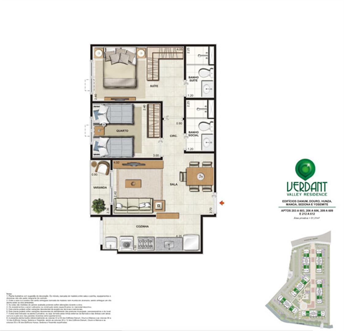 2 Quartos com suíte - 51,31m² - Aptos 203 a 603, 206 a 606, 209 a 609 e 2012 a 612 - Edifícios Danum, Douro, Hunza, Man