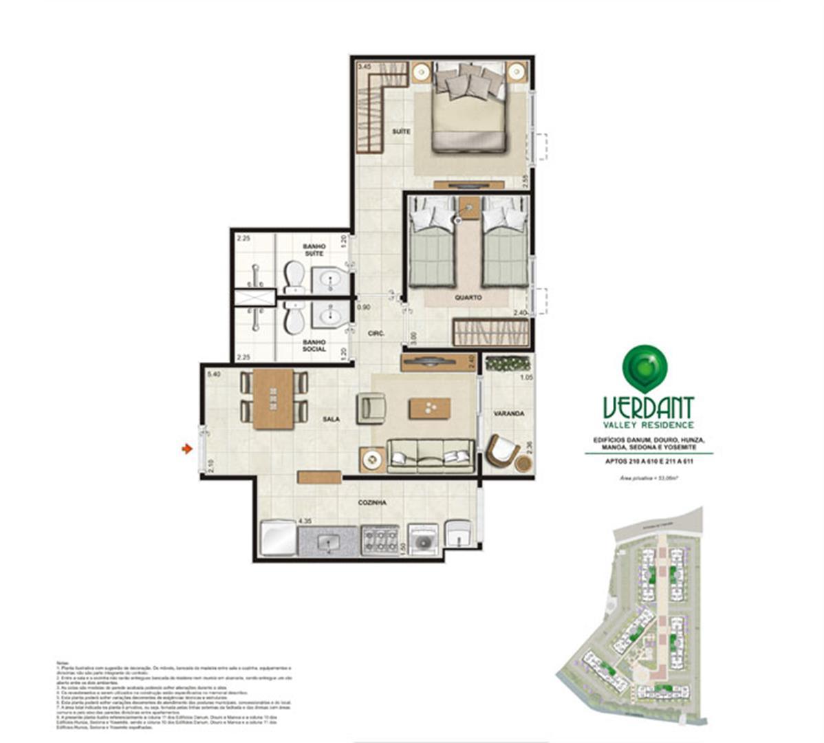 2 Quartos com suíte - 53,06m² - Aptos 210 a 610 e 211 a 611 - Edifícios Danum, Douro, Hunza, Manoa, Sedona e Yosemite