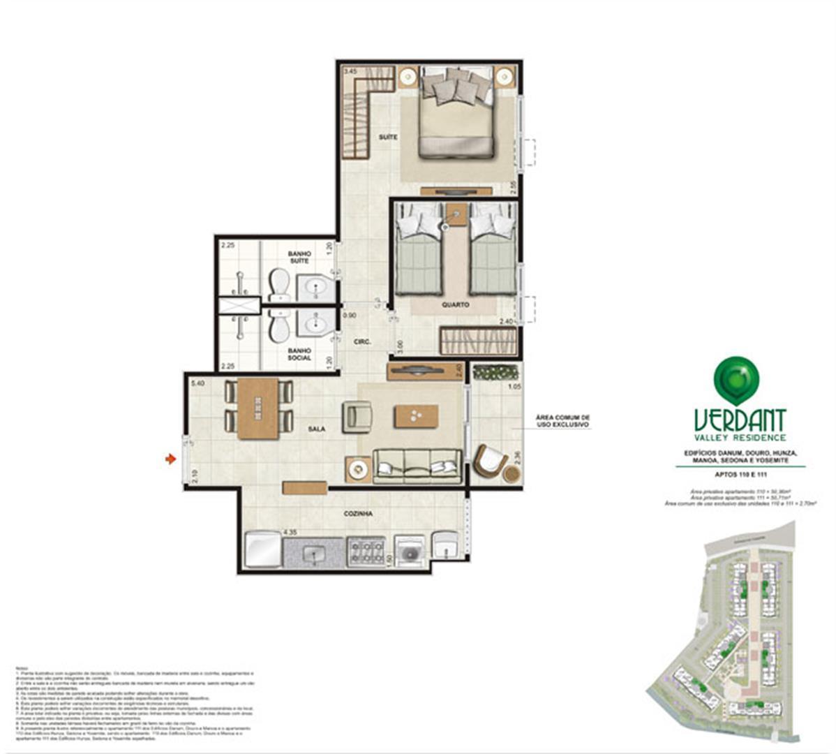 2 Quartos com suíte - 53,06m² e 53,41m² - Aptos 110 e 111 - Edifícios Danum, Douro, Hunza, Manoa, Sedona e Yosemite
