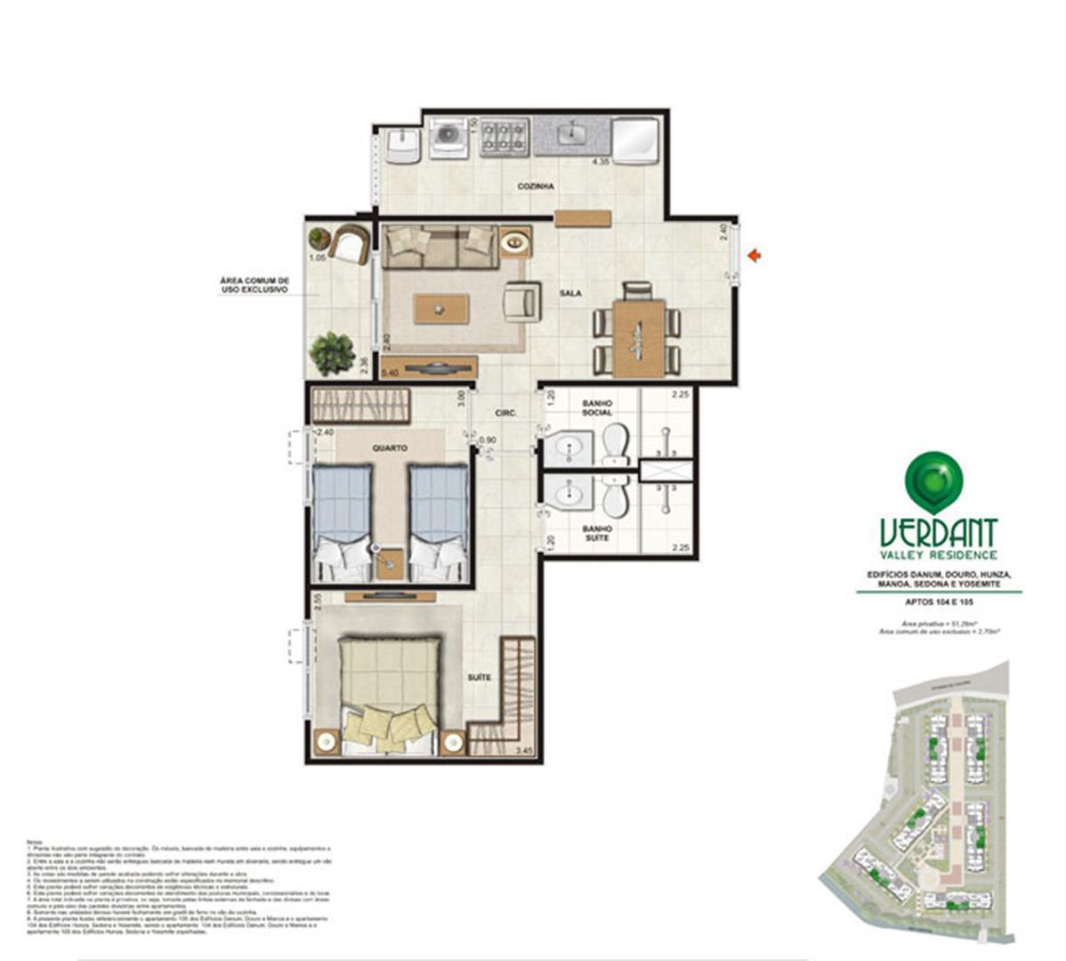 2 Quartos com suíte   53,98m²   Aptos 104 e 105   Edifícios Danum, Douro, Hunza, Manoa, Sedona e Yosemite