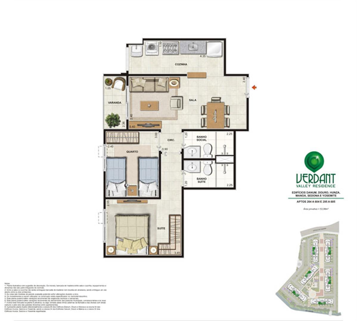 2 Quartos com suíte - 53,98m² - Aptos 204 a 604 e 205 a 605 - Edifícios Danum, Douro, Hunza, Manoa, Sedona e Yosemite