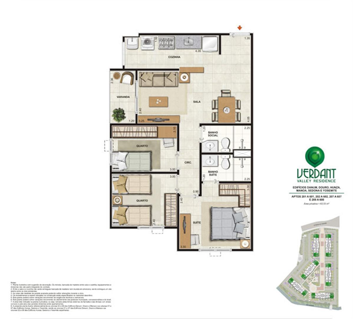 3 Quartos com suíte - 63,53m² - Aptos 201 a 601, 202 a 602, 207 a 607 e 208 a 608 - Edifícios Danum, Douro, Hunza, Mano