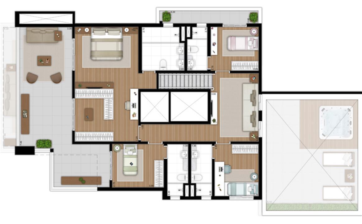 SKR Campo Belo Planta Duplex Superior rotacionada   Tom 1102 – Apartamentono  Campo Belo - São Paulo - São Paulo