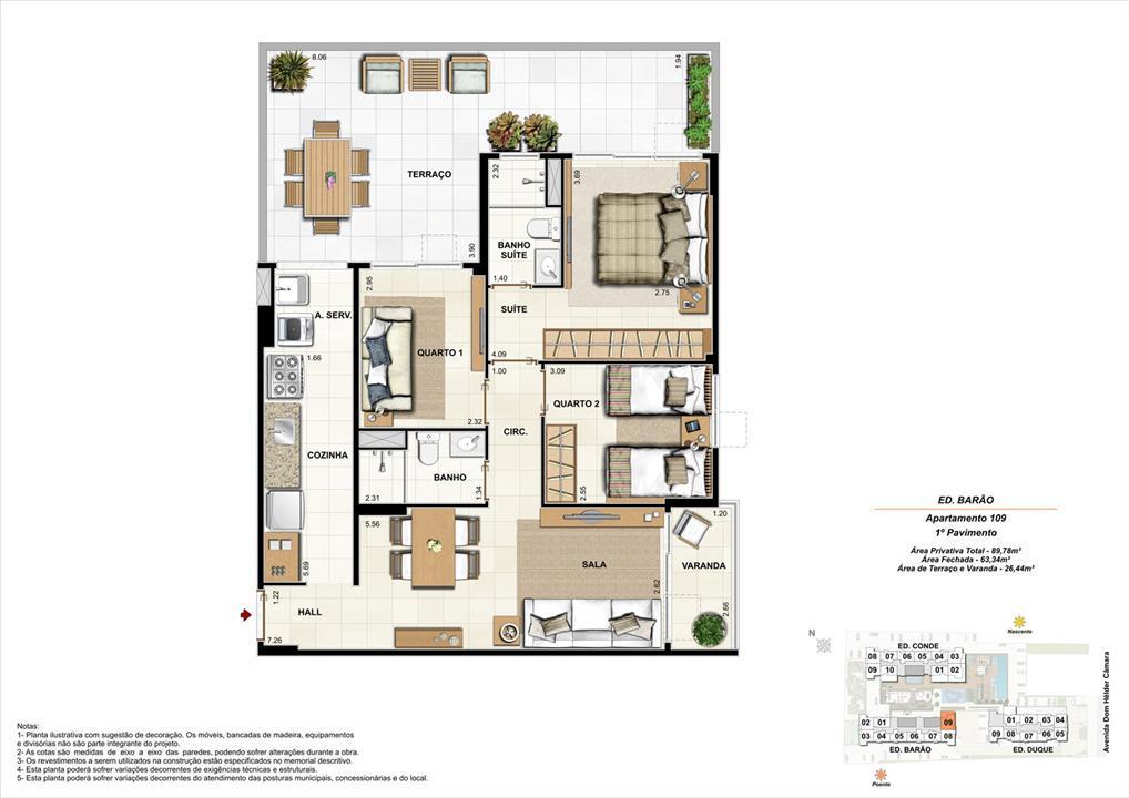 Ed. Barão   1º pavimento   Apartamento 109 de 89,78m2 com 01 suíte | Nobre Norte Clube Residencial – Apartamentono  Cachambi - Rio de Janeiro - Rio de Janeiro
