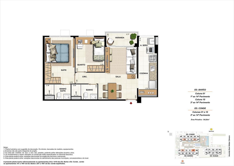 Ed. Barão e Ed. Conde   Coluna 1 e 10   Apartamento de 54,82m2 com 01 suíte | Nobre Norte Clube Residencial – Apartamento no  Méier - Rio de Janeiro - Rio de Janeiro