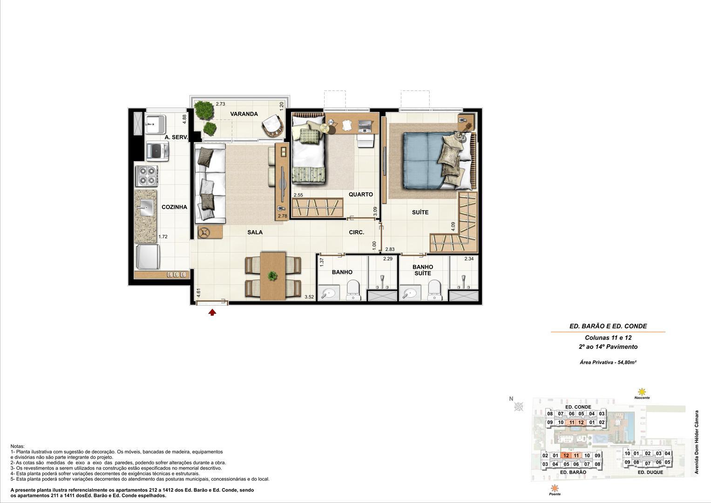 Ed. Barão e Ed. Conde   Coluna 11 e 12   Apartamento de 54,80m2 com 01 suíte | Nobre Norte Clube Residencial – Apartamento no  Cachambi - Rio de Janeiro - Rio de Janeiro