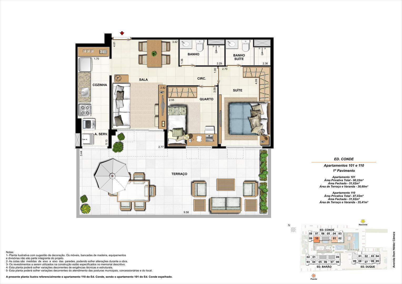 Ed. Conde   1º pavimento   Apartamento 101 e 110 de 87,03m2 com 01 suíte | Nobre Norte Clube Residencial – Apartamento no  Cachambi - Rio de Janeiro - Rio de Janeiro