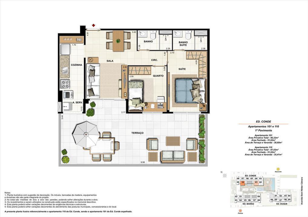 Ed. Conde   1º pavimento   Apartamento 101 e 110 de 87,03m2 com 01 suíte | Nobre Norte Clube Residencial – Apartamentono  Cachambi - Rio de Janeiro - Rio de Janeiro