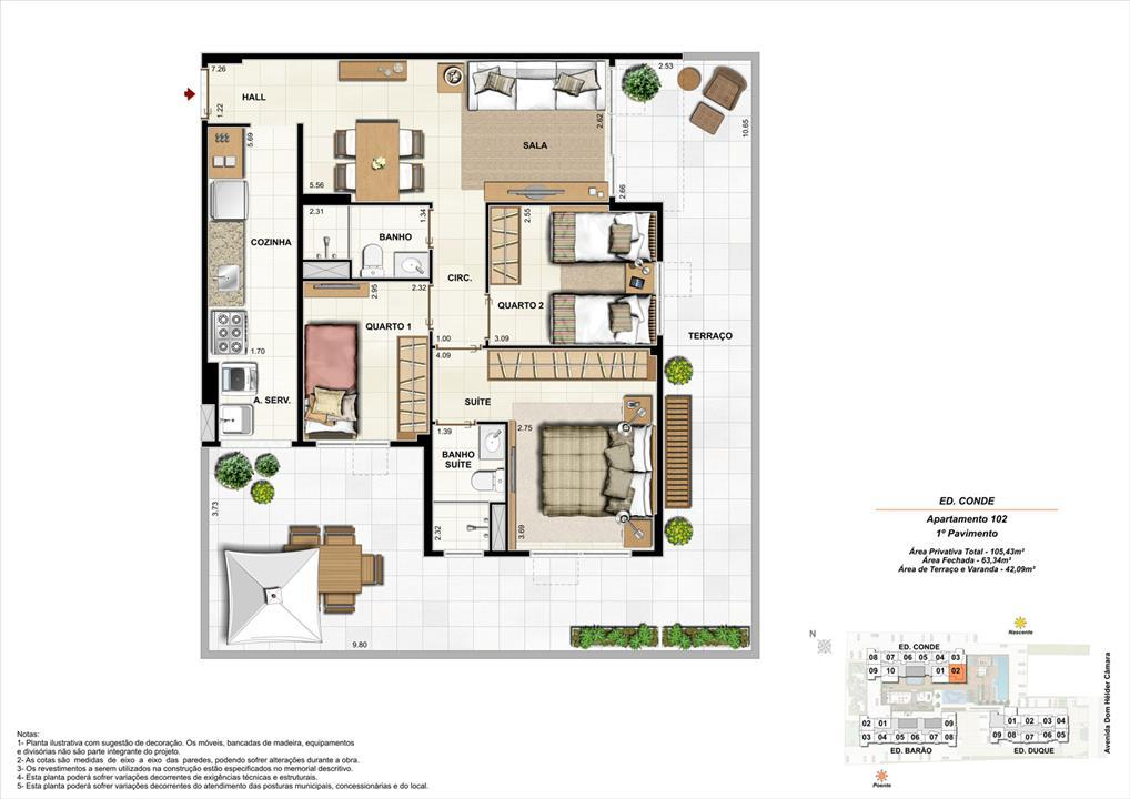 Ed. Conde   1º pavimento   Apartamento 102 de 105,43m2 com 01 suíte | Nobre Norte Clube Residencial – Apartamentono  Cachambi - Rio de Janeiro - Rio de Janeiro