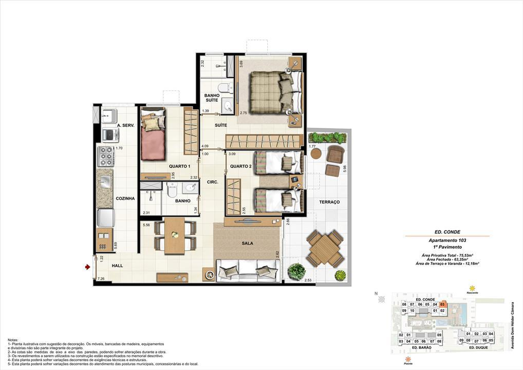 Ed. Conde   1º pavimento   Apartamento 103 de 75,53m2 com 01 suíte | Nobre Norte Clube Residencial – Apartamentono  Cachambi - Rio de Janeiro - Rio de Janeiro